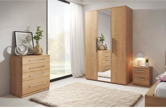 Home Essentials -Prague 4-Piece Package - 3 Door Mirrored Wardrobe, 4 Drawer Chest and 2 Bedside Cabinets