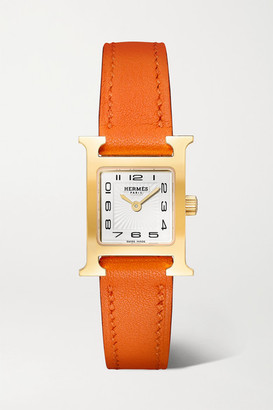 HERMÈS TIMEPIECES Heure H 17.2mm Very Small Gold-plated And Leather Watch - Orange