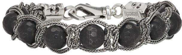 Emanuele Bicocchi Silver and Black Beaded Bracelet