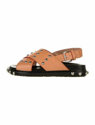Marni Leather Studded Accents Slingback Sandals Brown