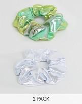Asos Pack Of 2 Metallic Hair Scrunchies