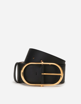 Dolce & Gabbana Belt In Cowhide With Oval Buckle