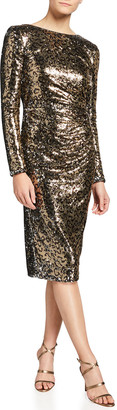 Dress the Population Reo Emilia Sequin Leopard Shirred Dress