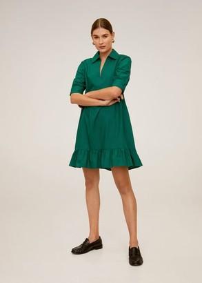 MANGO Frill cotton dress dark green - 2 - Women