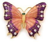 Avalaya Oversized Deep Purple Enamel Butterfly Brooch (Gold Tone Metal)