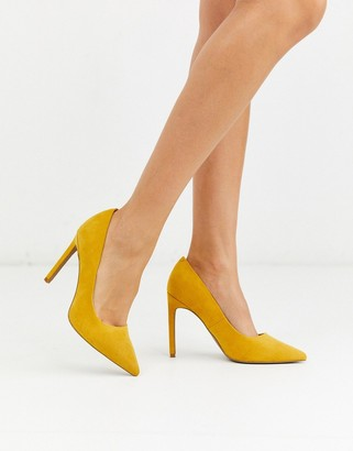 Asos Design DESIGN Porto pointed high heeled court shoes in mustard-Yellow