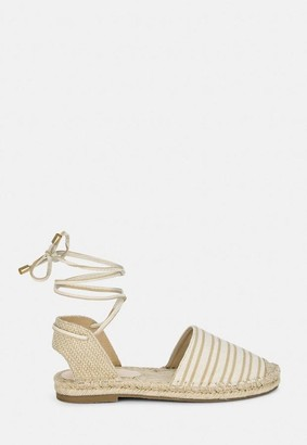 Missguided Beige Striped Flat Espadrille Shoes
