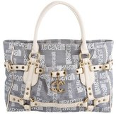 Just Cavalli Leather Trimmed Woven Tote