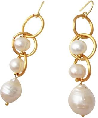 Lily Flo Jewellery Eternity Solid Gold Pearl Drop Earrings