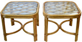One Kings Lane Vintage Bamboo Glass Top Tables - Set of 2 - Design Line - brown, goldenrod, butterscotch, clear