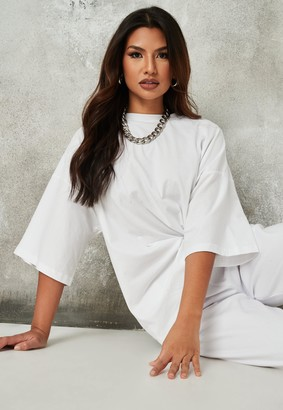 Missguided Petite White Drop Shoulder Oversized T Shirt