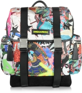 DSQUARED2 Multicolor Manga Printed Nylon & Leather Men's Backpack