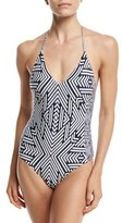 Red Carter Lace-Up Back One-Piece Swimsuit, Blue