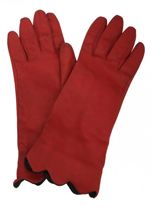 Saint Laurent Red Leather Gloves