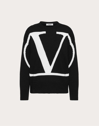 Valentino Vlogo Inlay Cashmere Jumper Women Black L