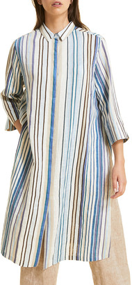 Marina Rinaldi Plus Size Diabase Striped 3/4-Sleeve Shirtdress
