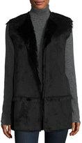 Neiman Marcus Faux-Shearling Vest, Black