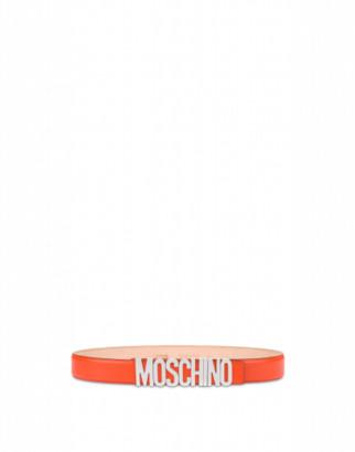 Moschino Calfskin Belt With Logo Man Orange Size 46 It - (30 Us)