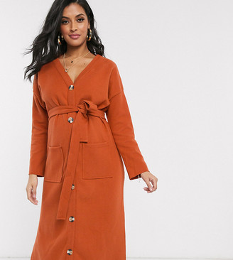 ASOS DESIGN Maternity long sleeve super soft belted midi dress in orange