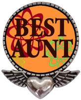 GiftJewelryShop Ancient Style Silver Plate Best Aunt Heart With Angel Wings Pins Brooch