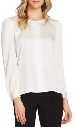 Vince Camuto Puff Shoulder Hammered Satin Blouse
