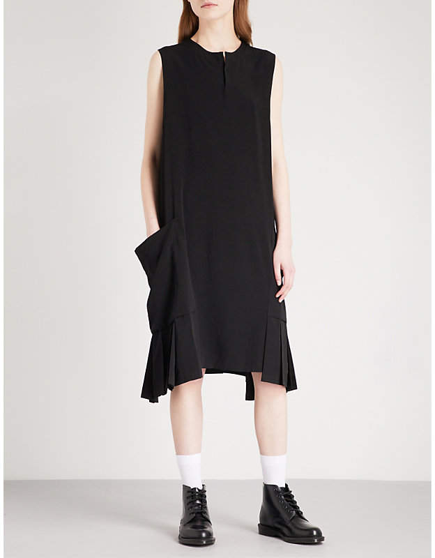 Y's Ys Pleated-detail satin dress