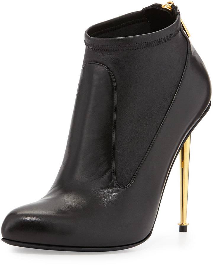 Tom Ford Leather Stretch Zip-Back Bootie