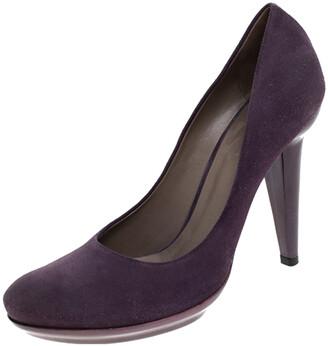 Bottega Veneta Purple Suede Platform Pumps Size 38.5