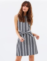 Warehouse Link Jacquard Midi Dress