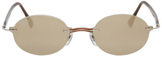 Ray-Ban Brown and Gold Rimless Round Sunglasses