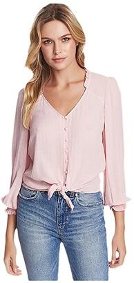 1 STATE Long Sleeve Sheer Windowpane Tie Front Blouse (Ballet Rose) Women's Clothing