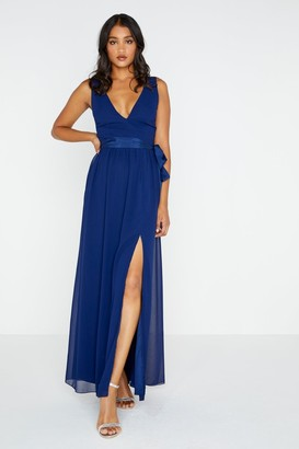 Little Mistress Navy Plunge Tie Maxi Dress