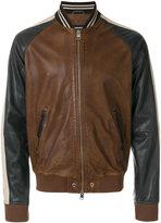 Diesel leather baseball jacket - men - Cotton/Sheep Skin/Shearling/Viscose - M
