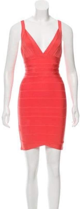 Herve Leger Bandage Mini Dress Coral Bandage Mini Dress