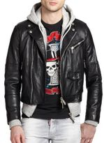 DSQUARED2 Cropped Leather & Hooded Jacket