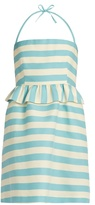 RED Valentino Striped halterneck cotton-blend twill mini dress