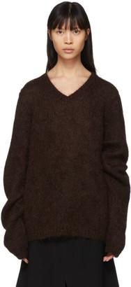 Maison Margiela Brown Mohair Gauge 3 V-Neck Sweater