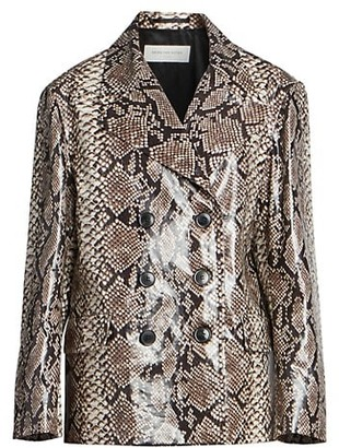 Dries Van Noten Snakeskin-Print Double-Breasted Jacket
