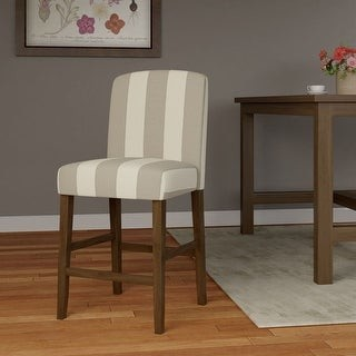 "HomePop Curved Back 24"" Counter Stool - Grey Stripe - 24 inches"
