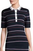St. John Women's Sport Collection Striped Dot Polo Shirt
