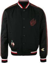 Lanvin embroidered bomber jacket - men - Cotton/Virgin Wool/Cupro/Spandex/Elastane - 48