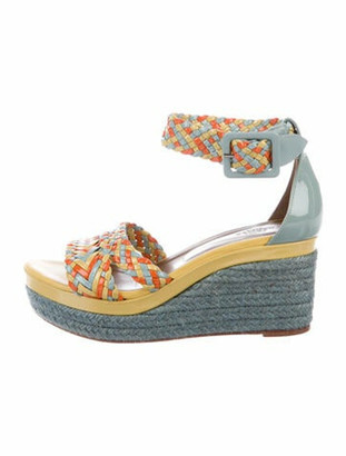 Hermes Patent Leather Printed Espadrilles Yellow