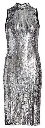 Alice + Olivia Malika Embellished Sequin Mockneck Dress