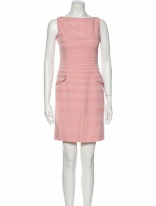 Christian Dior Bateau Neckline Mini Dress Pink