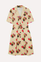 ADAM by Adam Lippes Floral-print Belted Cotton-twill Dress - Beige