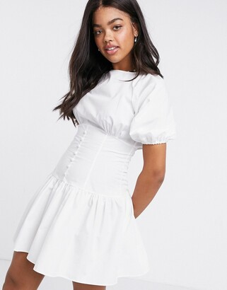 ASOS DESIGN cotton poplin mini dress with button waist and puff sleeves in white