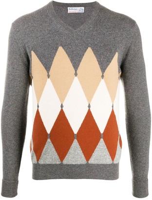 Ballantyne Diamond-Print Knitted Jumper