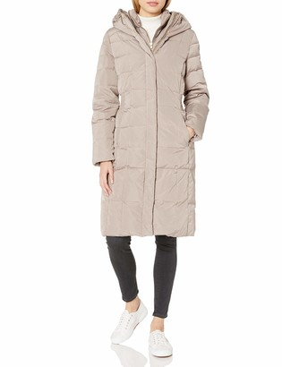 Cole Haan Women's Taffeta Hooded Quilted Down Jacket with Elasticated Side Waist Detail