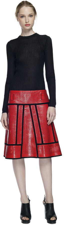 Proenza Schouler Red A-Line Crochet Skirt