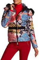 Desigual Multi Design Bubble Jacket With Faux Fur Hood